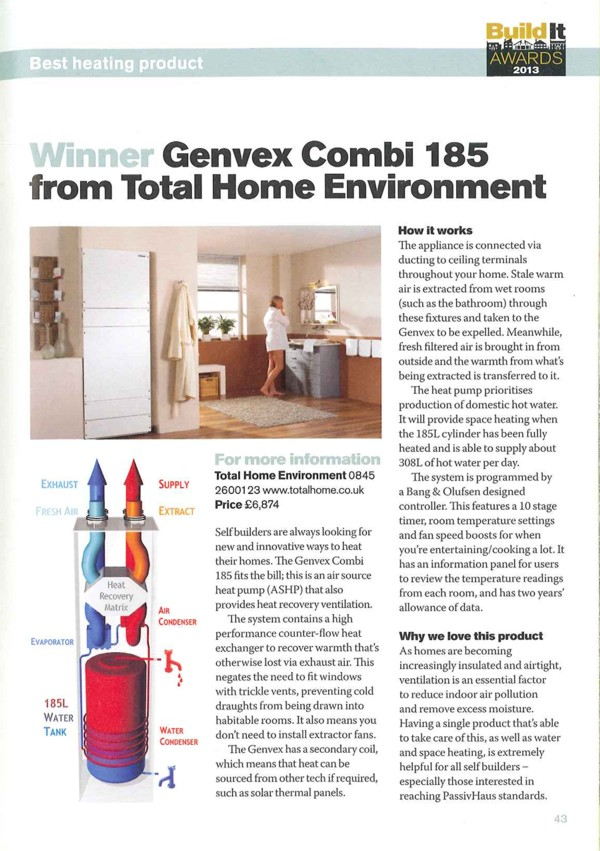 Build It Award for Best Heating Product 2013 - Genvex Combi 185
