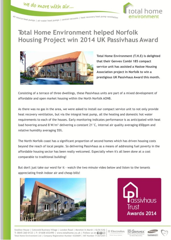 Total Home Environment helps project get UK Passivhaus Award